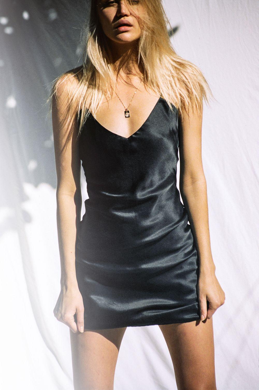 Stonestone Tumblr Ig Jessiestone Slip Dress Silk Black
