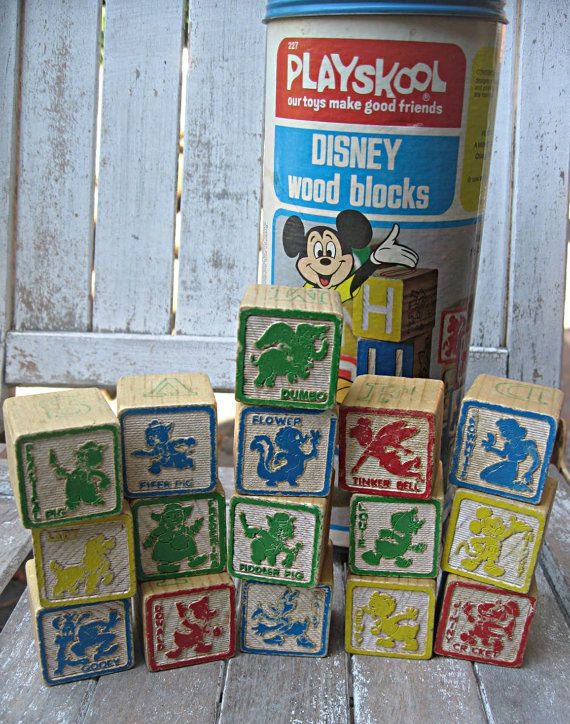 Vintage wooden blocks, Disney characters, childs stacking blocks, retro toy. $29.00, via Etsy.