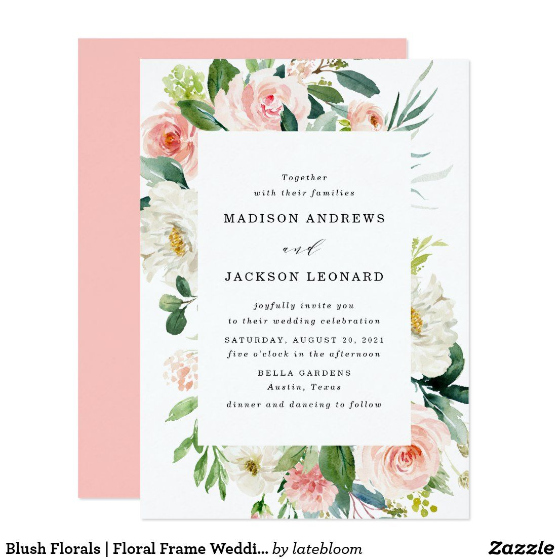 Blush Florals | Floral Frame Wedding Invitation | Zazzle.com in 2020 |  Watercolor floral wedding invitations, Floral wedding, Watercolor bridal  shower invitations