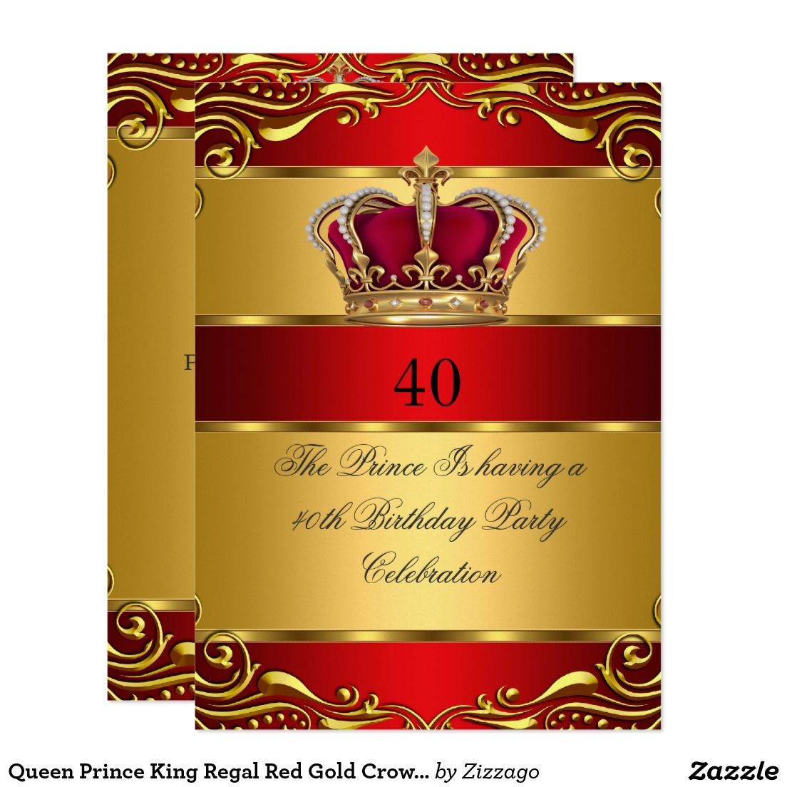 Queen Prince King Regal Red Gold Crown Birthday Card | Sold Products ...