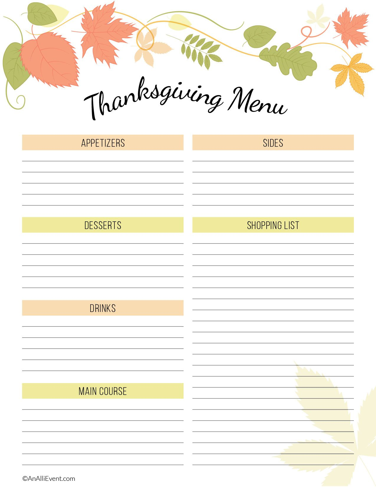 Free Thanksgiving Planner Printable