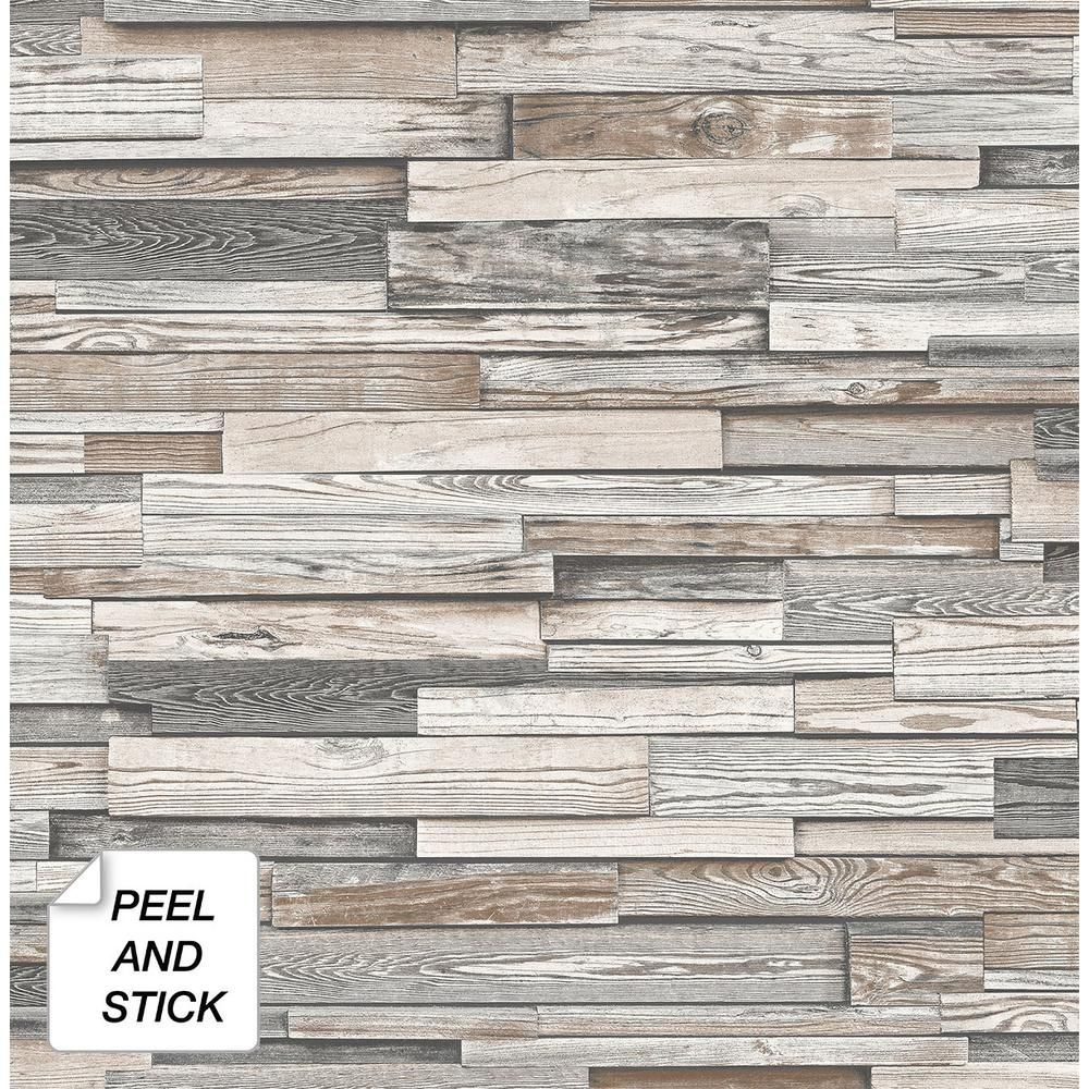 Nextwall Reclaimed Wood Plank Light Gray Brown Vinyl Peelable Roll Covers 30 75 Sq Ft Nw32600 The Home Depot Peel And Stick Wood Wood Vinyl Stick On Wood Wall