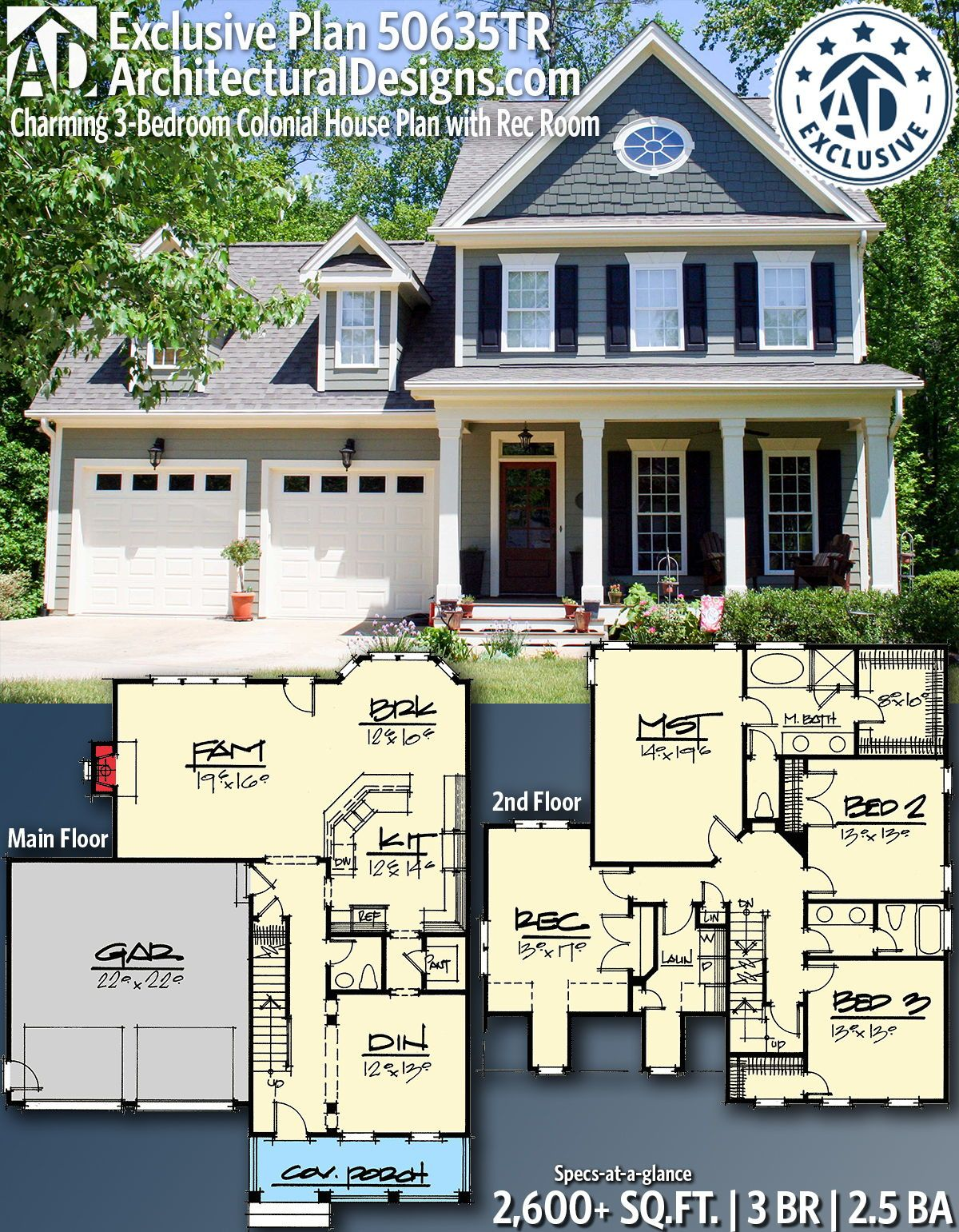 Plan 50635tr Charming 3 Bedroom Colonial House Plan With Rec Room