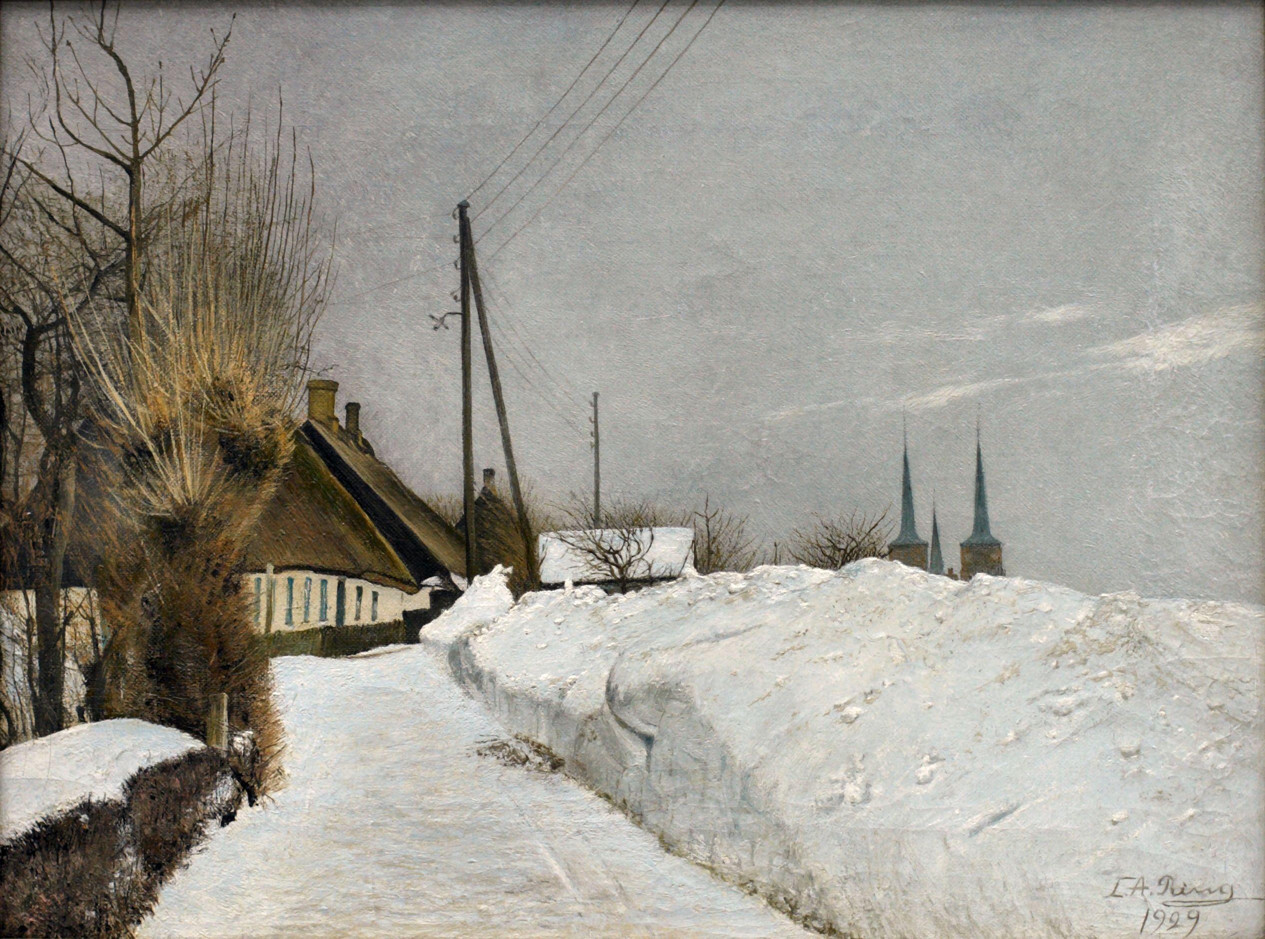Laurits Andersen Ring 1854 1933 Vinterdag I Roskilde 1929 Roskilde Billeder Danmark
