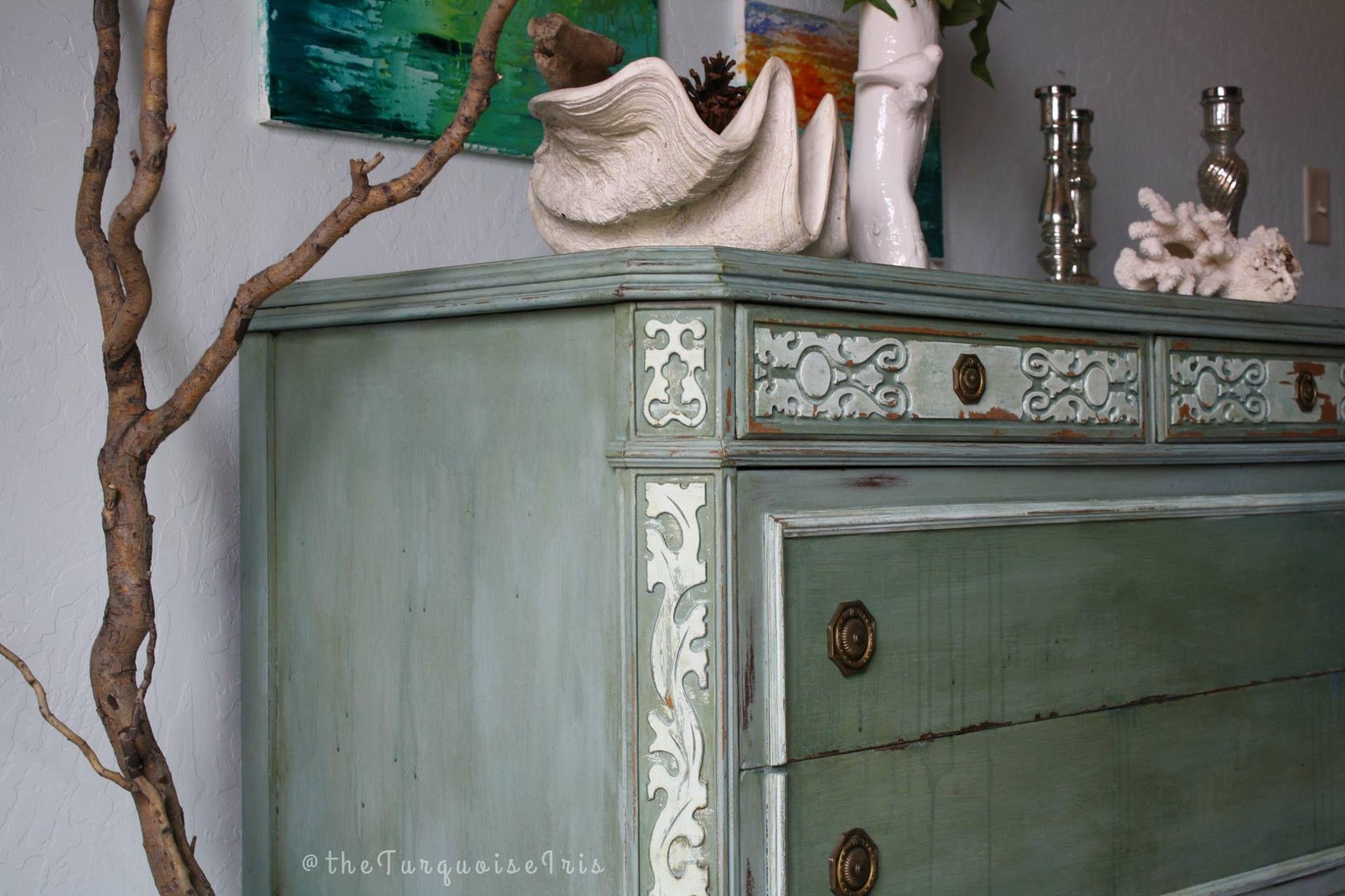 he Turquoise Iris l CeCe Caldwell's Chalk + Clay Paint l Furniture Art l Painted Furniture l Duck Blue l Alaskan Tundra Green l Nantucket Spray l Savannah Praline