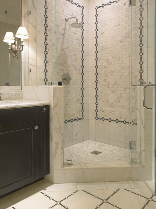 Source sdg architects stunning bathroom with ebony for Tumbled marble bathroom designs