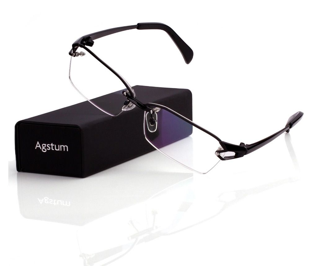 3e3fdf199c Agstum Pure Titanium Retro Half Rimless Glasses Frame Optical Eyeglasses  Clear Lens Rx