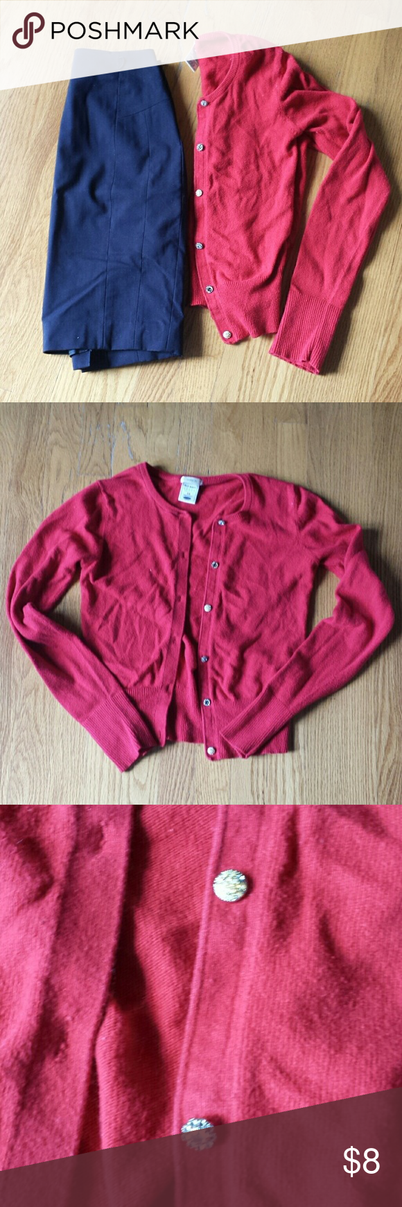 Red cardigan Old Navy dressy red cardigan with rhinestone buttons ...