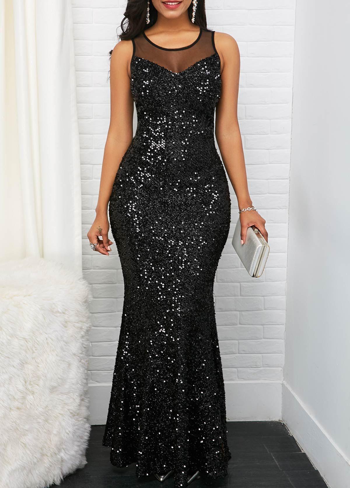 Sleeveless Black Mesh Panel Sequin Maxi Dress  Elegante kleider
