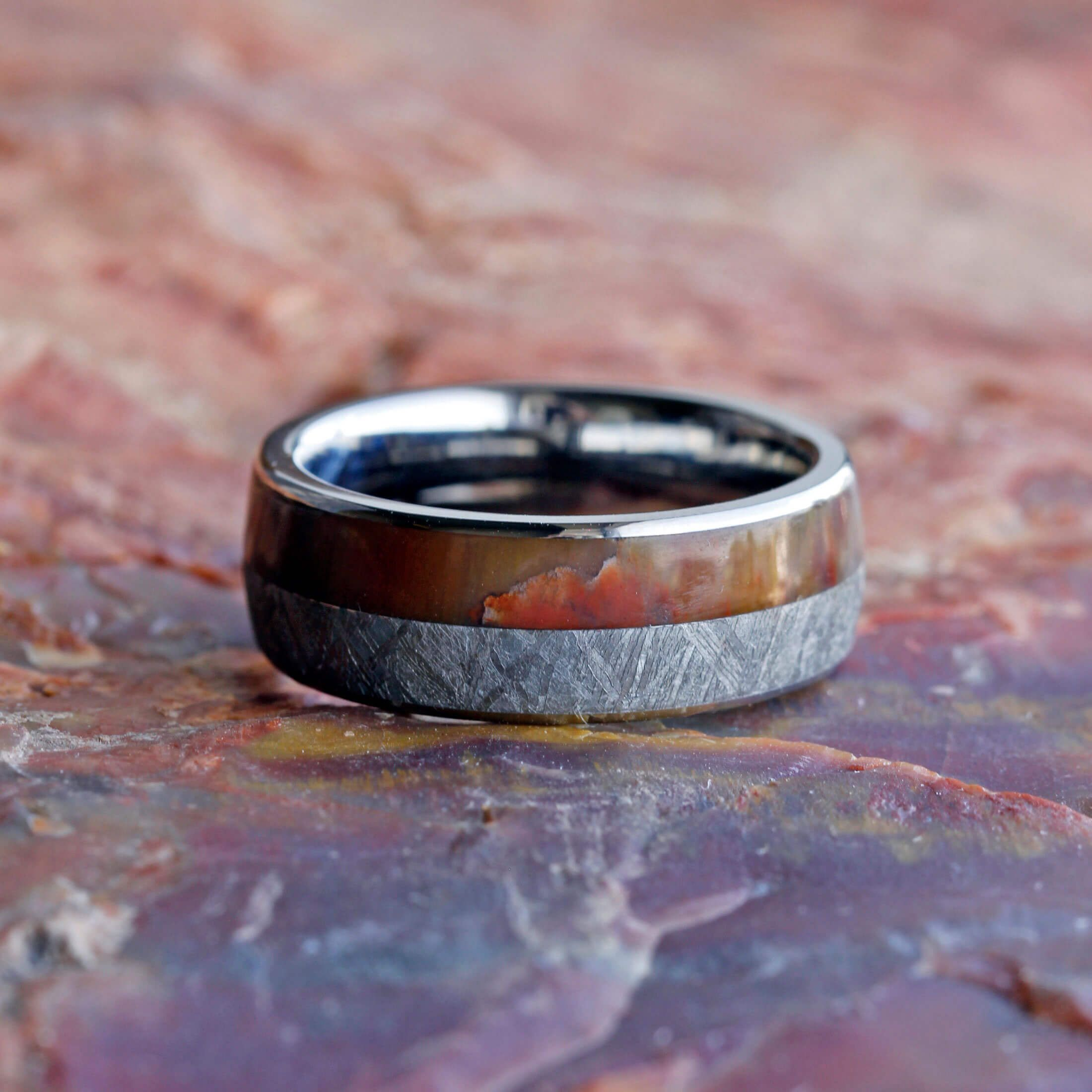 rings ring pin petrified onyx titanium mens meteorite band with for inlay crushed wood wedding engagement men