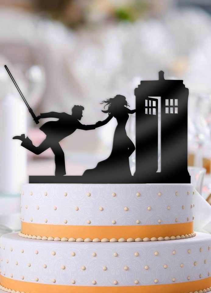 Bride Pulling Jedi To The Tardis Cake Topper Wedding Cake
