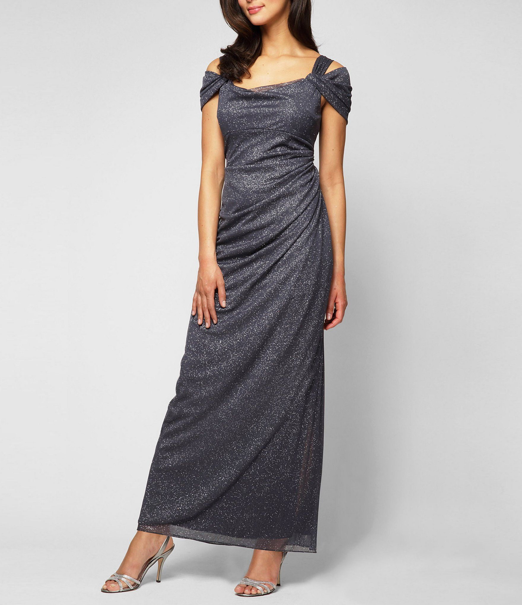 Alex evenings glitter mesh coldshoulder gown in wedding