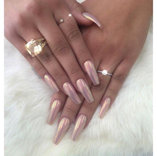 Coffin shaped chrome nails | Nail Designs | Pinterest | Chrome nails ...