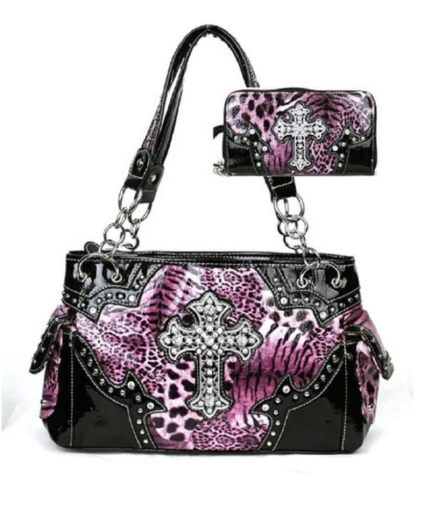 Western Cross Leopard Handbag Rhinestone Pocket Purse With Matching Wallet Purp Hbm Hobo