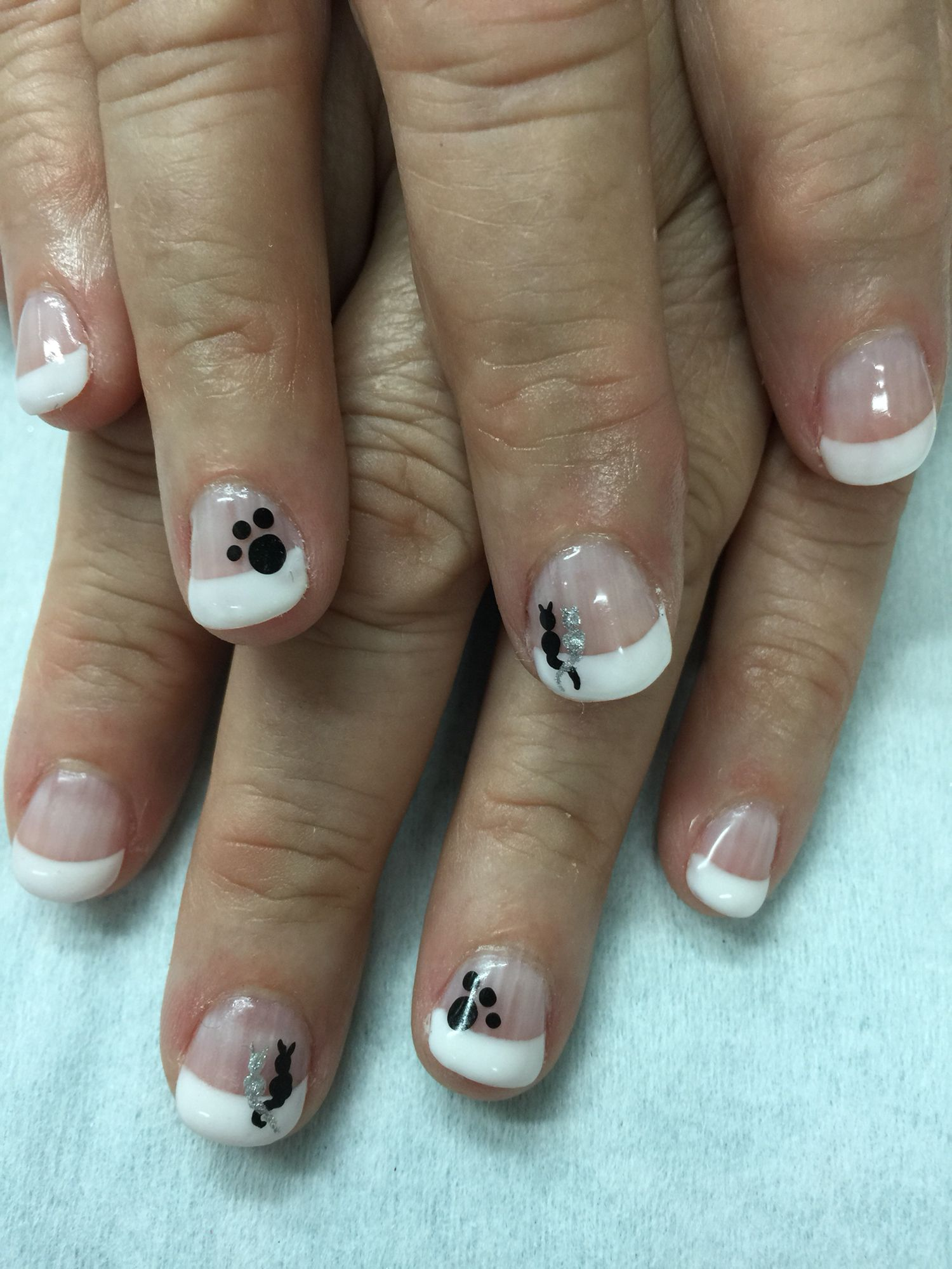 White French Gel Nails With Kitty Cat Designs And Paws All Done