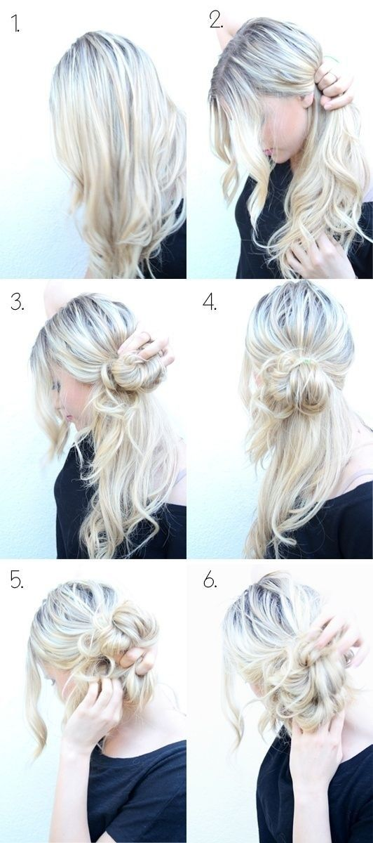 How to Do Style: Messy Side Bun Updo... My awesome sister taught me to do this over a year ago and it's been a curly-girl lifesaver!