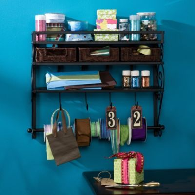 Wall-mount Craft Storage Rack with Baskets
