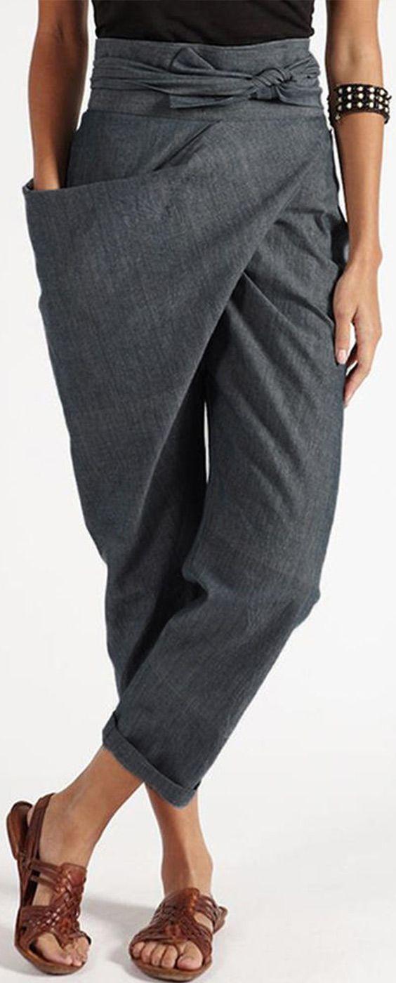 Photo of * 60% off * Women Zipper Casual Belt Harem Pants Irregular …