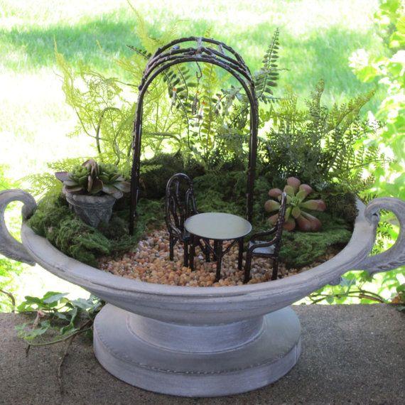 Mini garden jeremie arbor urn and furniture mini container gardens pinterest miniature for Garden barn vernon ct