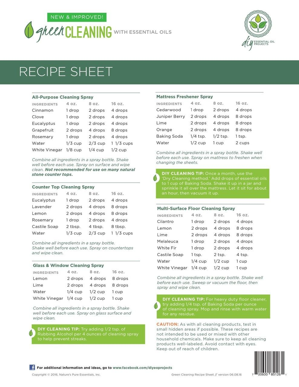 Green Cleaning With Essential Oils Recipe Sheets