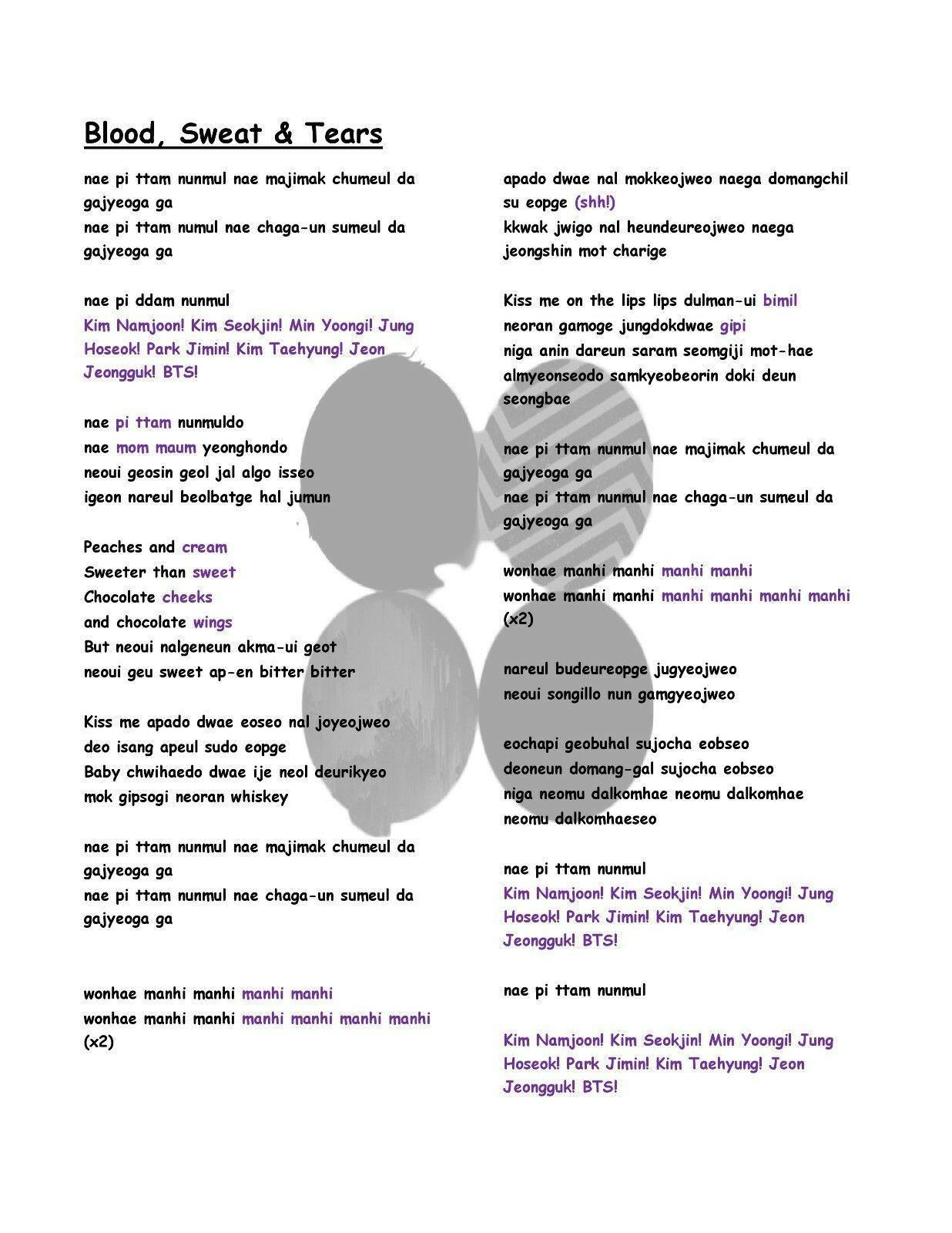 BTS Blood, Sweat & Tears English Translation Lyrics