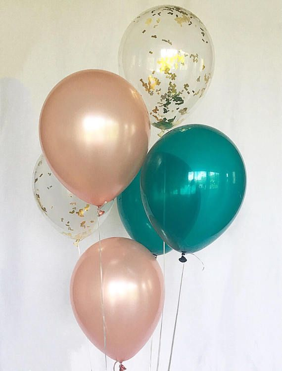 Rose Gold Balloons Rose Gold Teal Latex Balloons Rose Gold Bridal Shower Rose Gold Wedding Rose Gold and Teal Balloons Bachelorette Party images