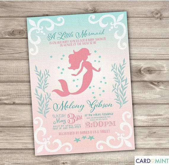 Printable Mermaid Baby Shower Invitations Shabby Chic Little