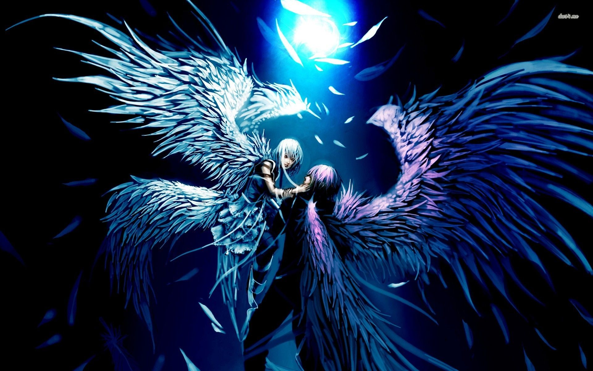 Angel And Demon Lovers Anime Desktop Background Dragons Fairys
