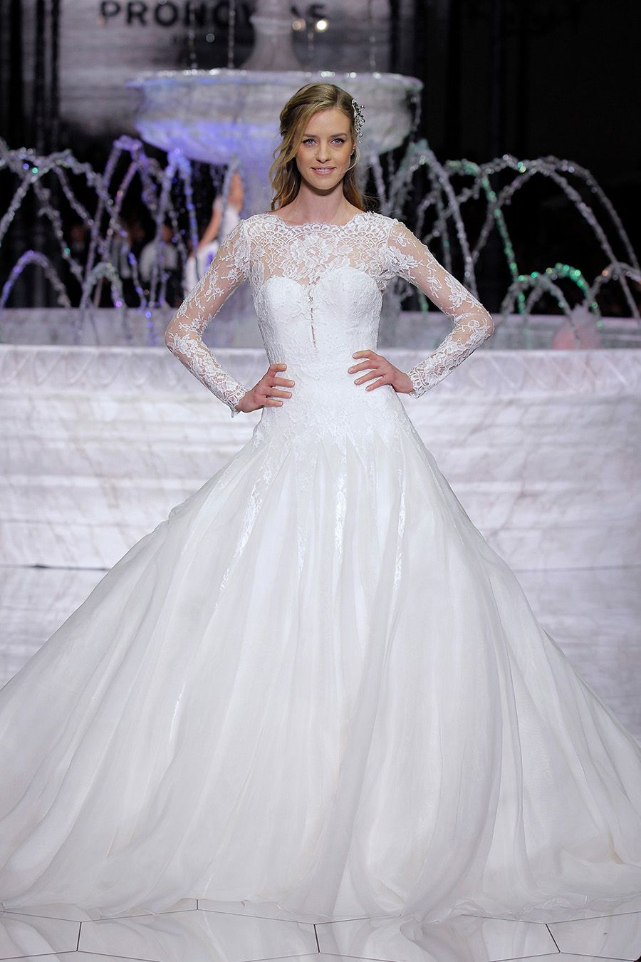 New Princess ball gown Pronovias wedding dress with illusion sleeves and sweetheart neckline The runway