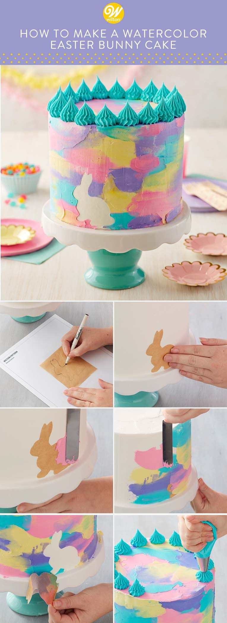 Decorated With Pastel Pink Teal Yellow And Purple Icing This