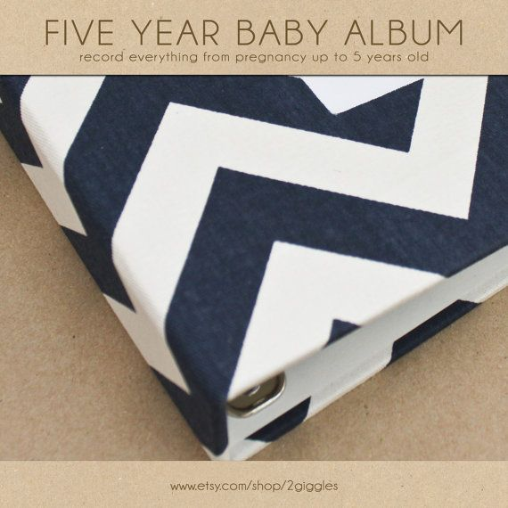Baby  Book (Pregnancy - 5 Years) - Navy Chevron  (134 designed journaling pages & personalization included with album)