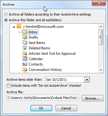 Archive Items Manually Outlook Email Archive Outlook