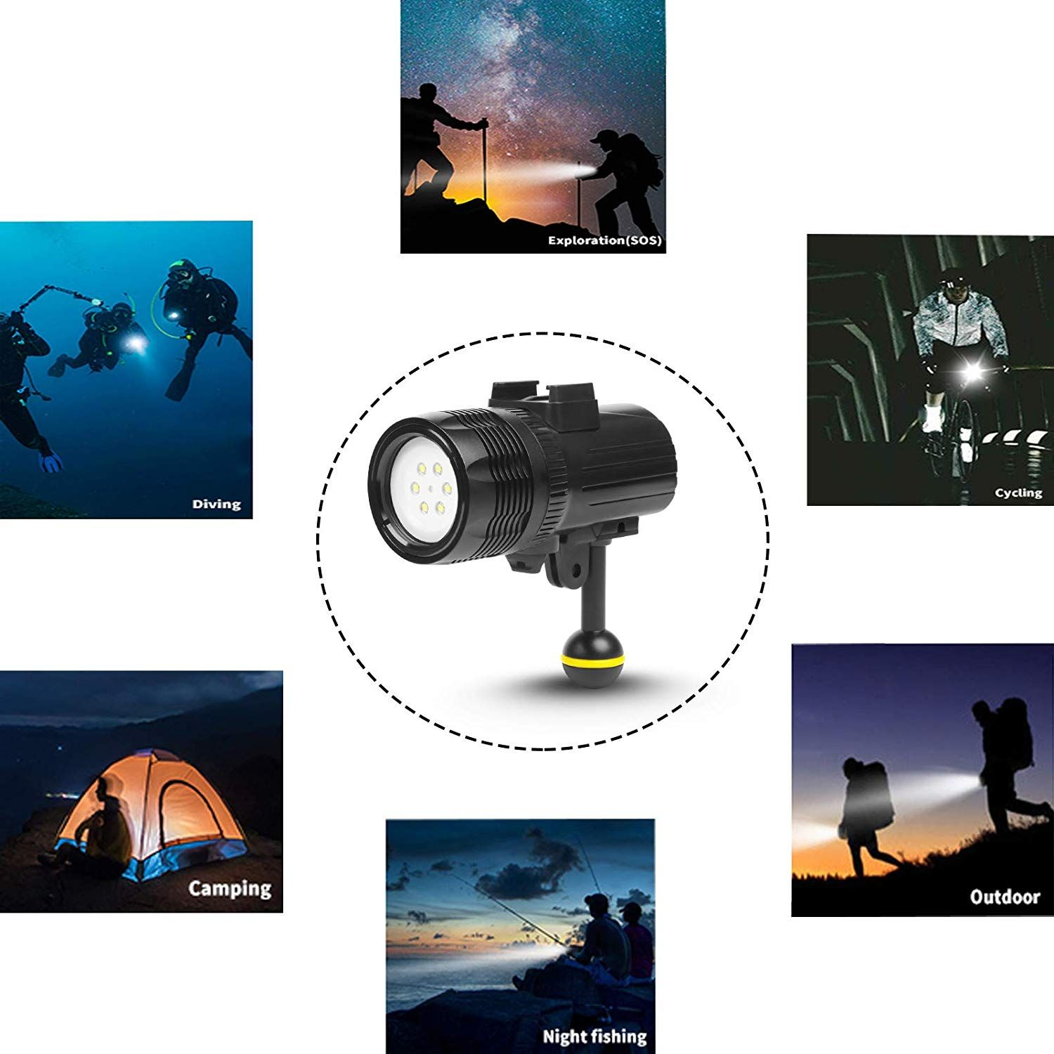 Waterproof Torch Led Light 1000lm Diving 60m Video Flashlight Lamp For Gopro Hero In 2020 Water Proof Case Underwater Lights Gopro Hero