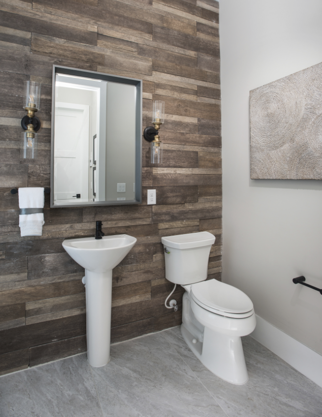 This modern farmhouse styled powder bathroom combines a - Affordable interior designer orlando fl ...