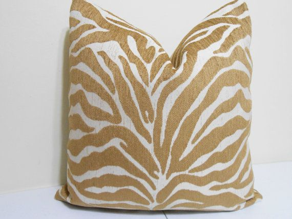Gold Chenille Pillow Cover Animal Striped by ZourraDesigns