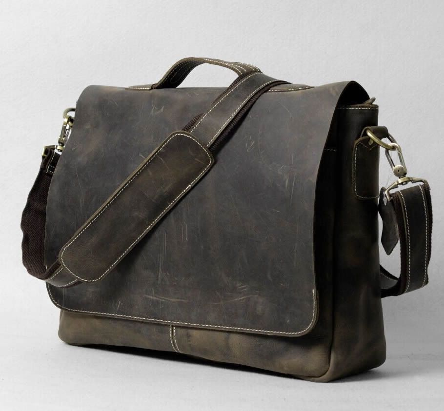 Image of Vintage Handmade Antique Leather Briefcase Messenger 13