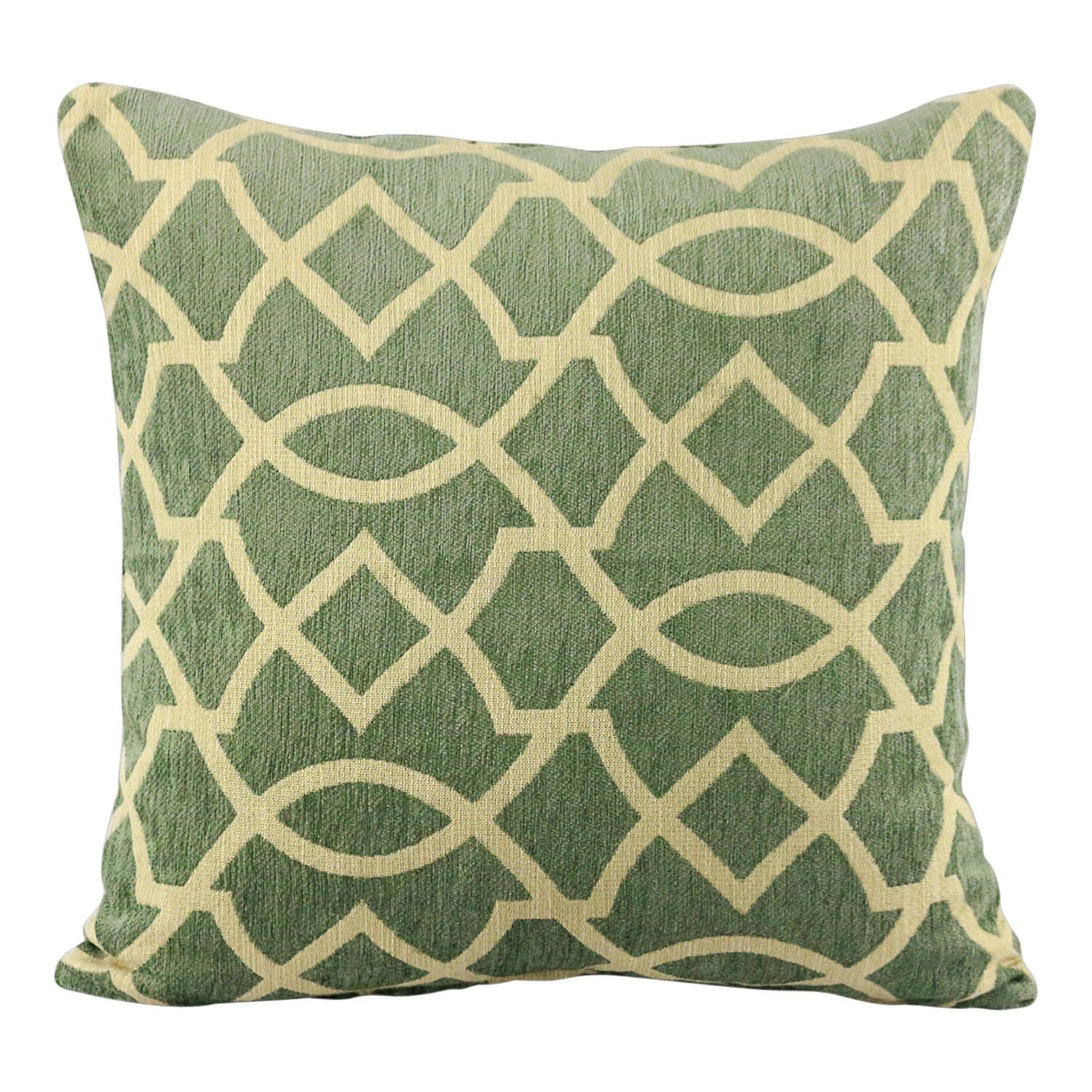Beige geometric shapes on green inch and lumbar pillows by