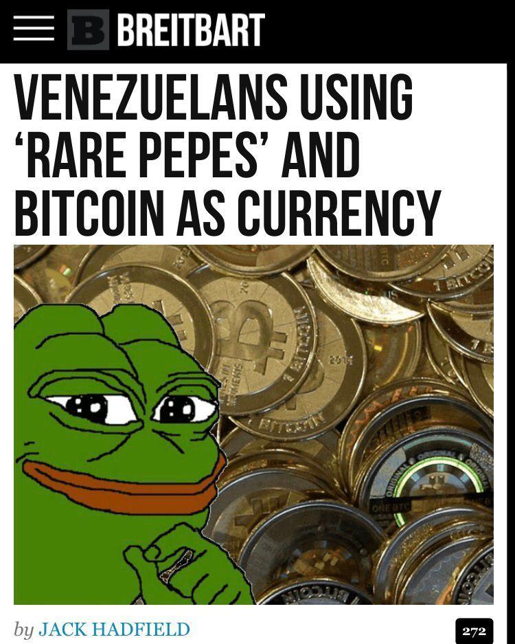 Venezuelans Using Rare Pepes Bitcoin As Currency Venezuela Cryptocurrency Bitcoin Rarepepes Meme Bitcoin Cryptocurrency Investing In Cryptocurrency