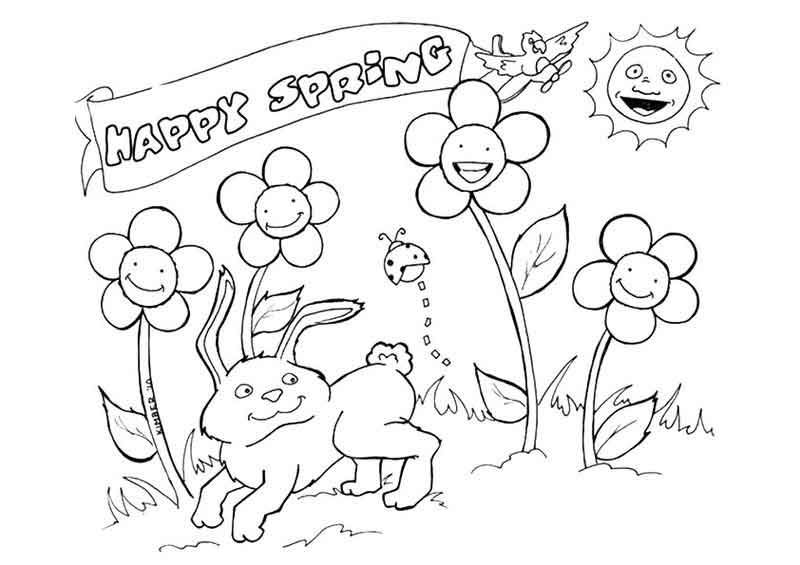 Happy Spring Coloring Page in 9  Spring coloring sheets