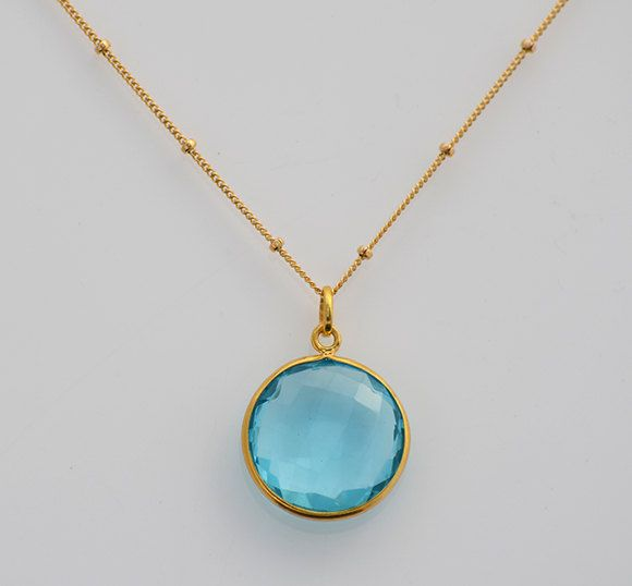 gemstone in gold diamond necklace white with pendant topaz blue necklaces jewellery pendants