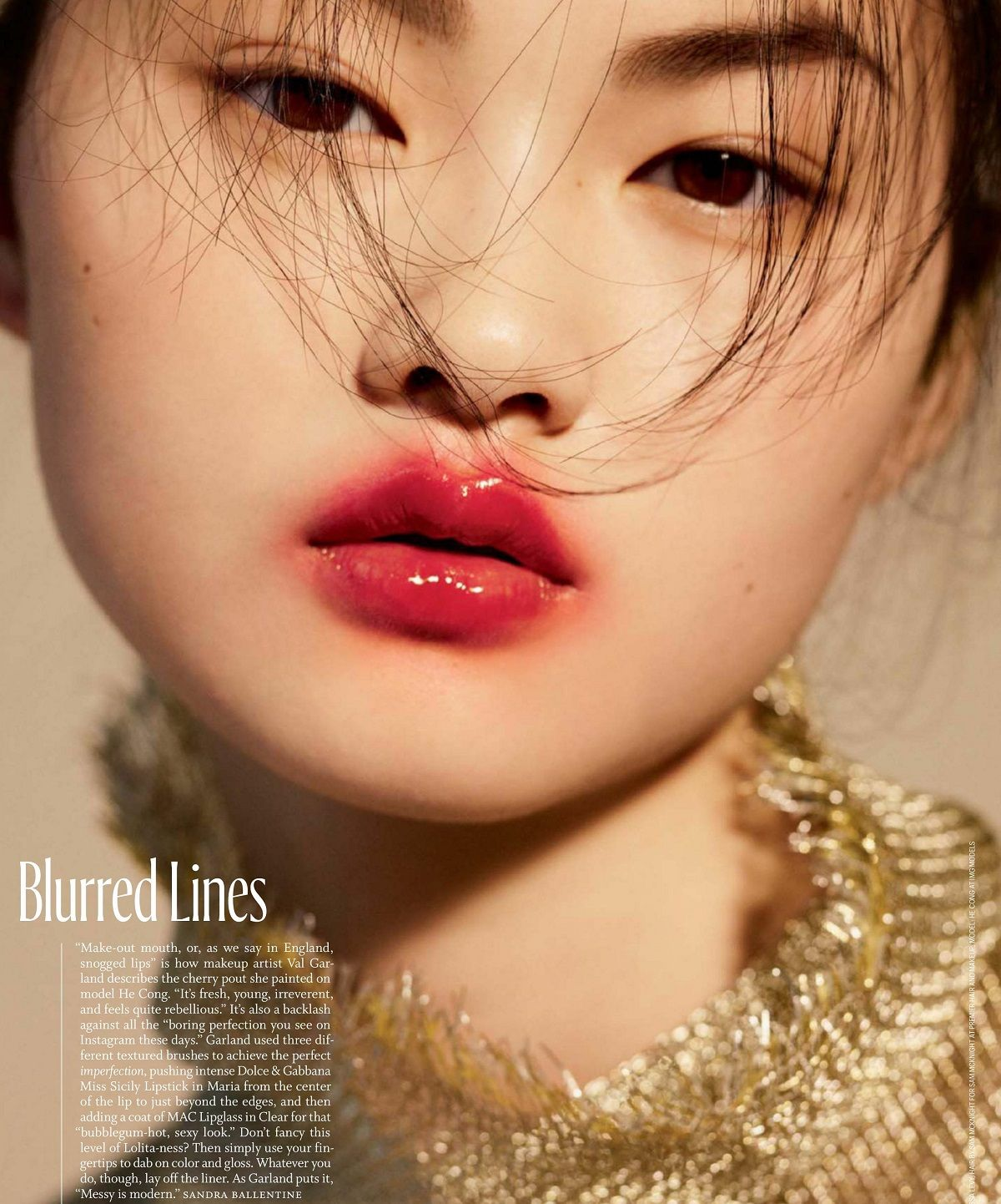 Model: Cong He (IMG)  Editorial: Blurred Lines  Magazine: W Magazine, May 2017  Photographer: Sharif Hamza  Stylist: Melissa Levy  Hair: Sam McKnight  Makeup: Val Garland