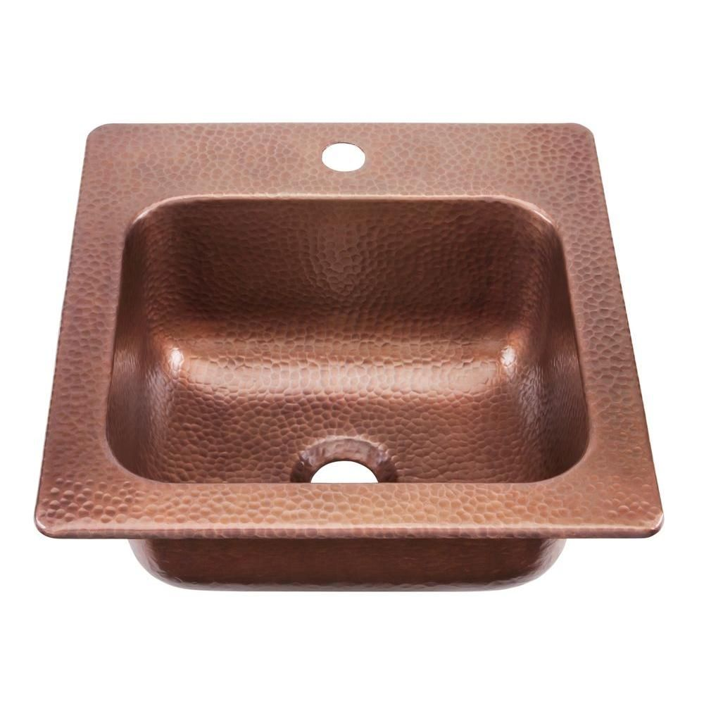 Sinkology Seurat Drop In Solid Copper 15 In 1 Hole Single Bowl Kitchen Sink In Hammered Antique Copper Copper Bar Sink Bar Sink Copper Sink
