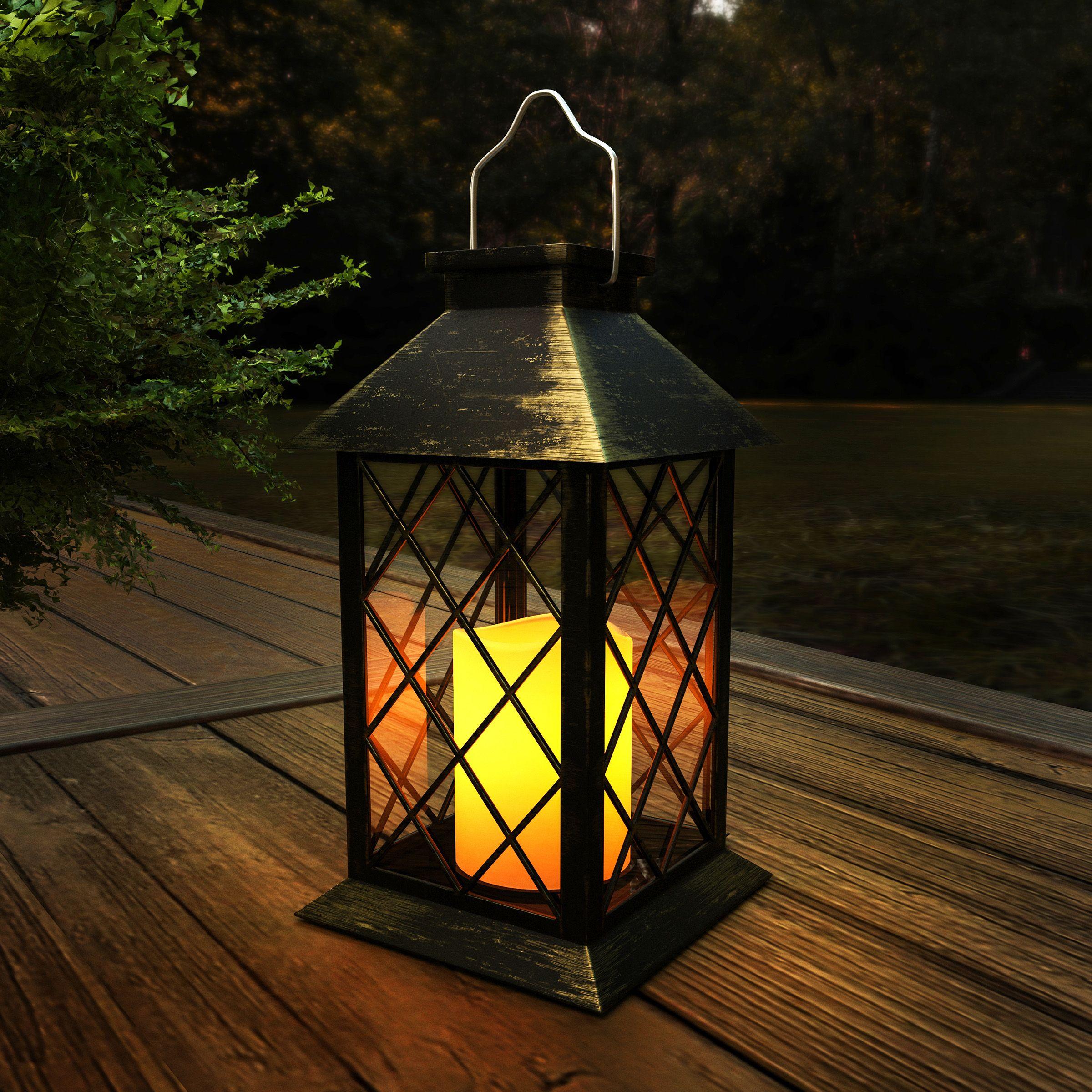 Solar Powered Lantern Hanging Or Tabletop Water Resistant Led Pillar In 2020 Solar Powered Lanterns Lavish Home Led Pillar Candle