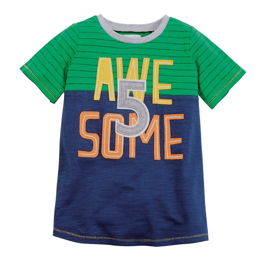 Birthday Boy Age 5 Awesome Tee By Mud Pie 5T
