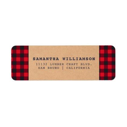 rustic buffalo plaid seasonal address label buffalo plaid