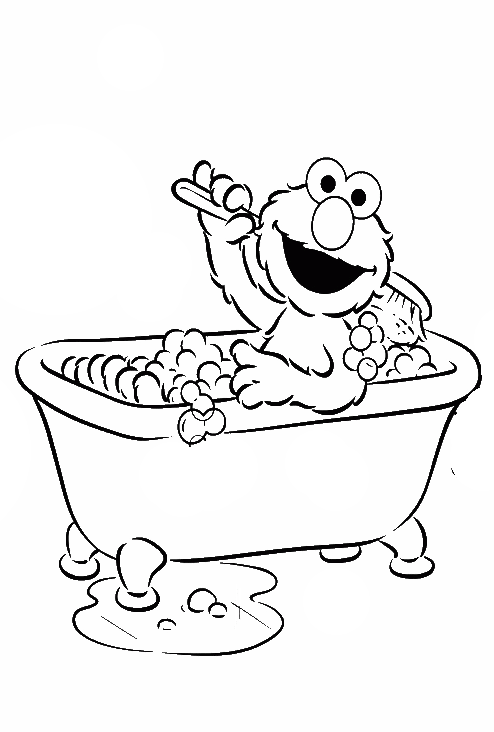 Elmo Bath Were Clean And Fresh Coloring Page - Elmo Coloring Pages ...