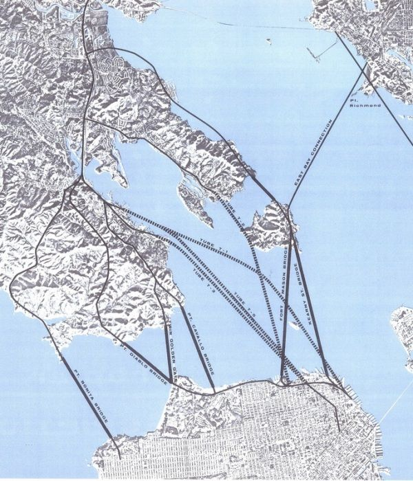 Sum of 1967 alternatives for San Francisco-Marin crossings, tube and bridge, via Eric Fischer and Scott Dowdee.