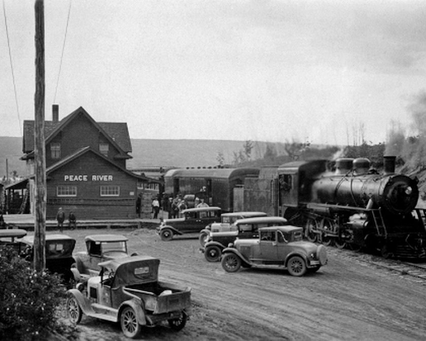 Things are happening when the passenger train is in as shown in this station scene at Peace River, Alberta  circa late 1920s on the ED&BC Railway. This railway became part of the Northern Alberta Railways which lasted for 50 years and eventually that too disappeared to become part of the CNR in 1980.