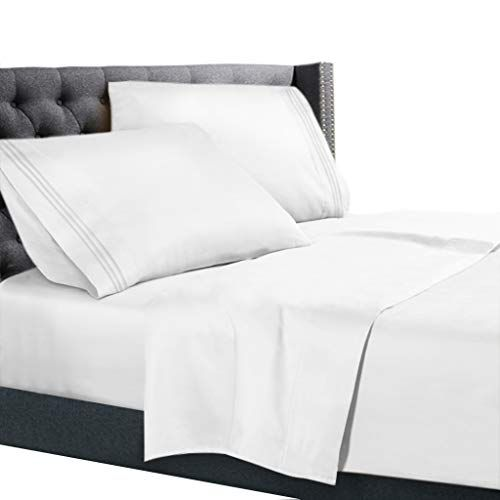 Rvshort Queen Size Bed Sheets Set White Bedding Sheets Set On