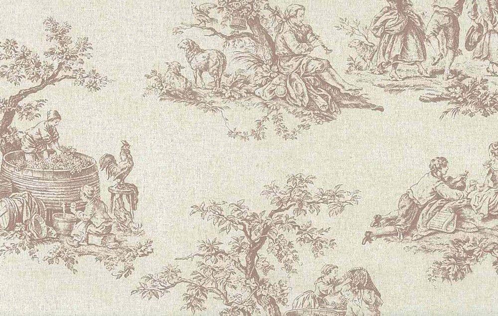 NORWALL BROWN CREAM TOILE Wallpaper Rolls Grape Harvest